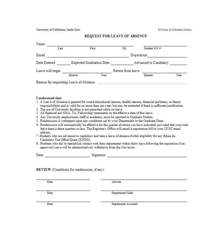 Leave Of Absence form Template 45 Free Leave Of Absence Letters and forms Template Lab