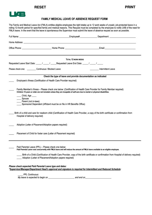 Leave Of Absence form Template Fillable Family Medical Leave Absence Request form