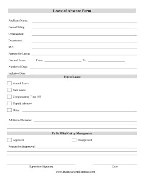 Leave Absence Form Template