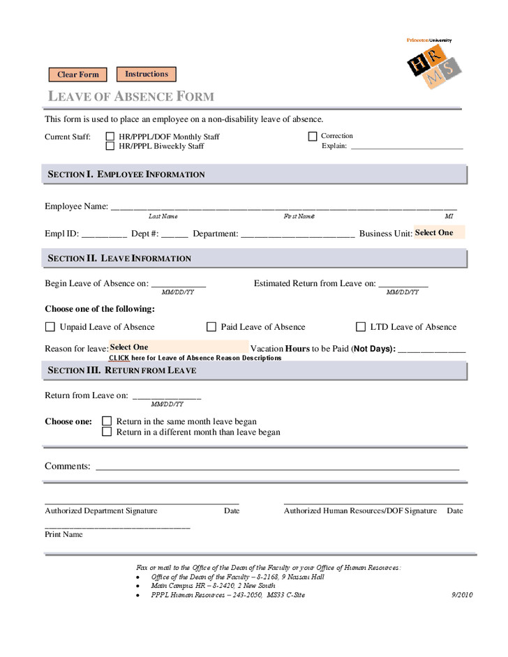 Leave Of Absence form Template Leave Of Absence form Leave Of Absence form