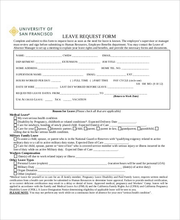 Leave Of Absence form Template Sample Absence Request form 11 Examples In Word Pdf
