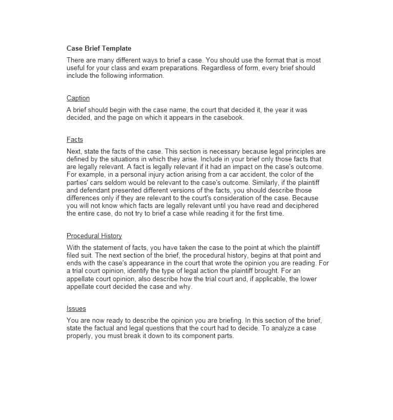 Legal Brief Template Word 40 Case Brief Examples & Templates Template Lab