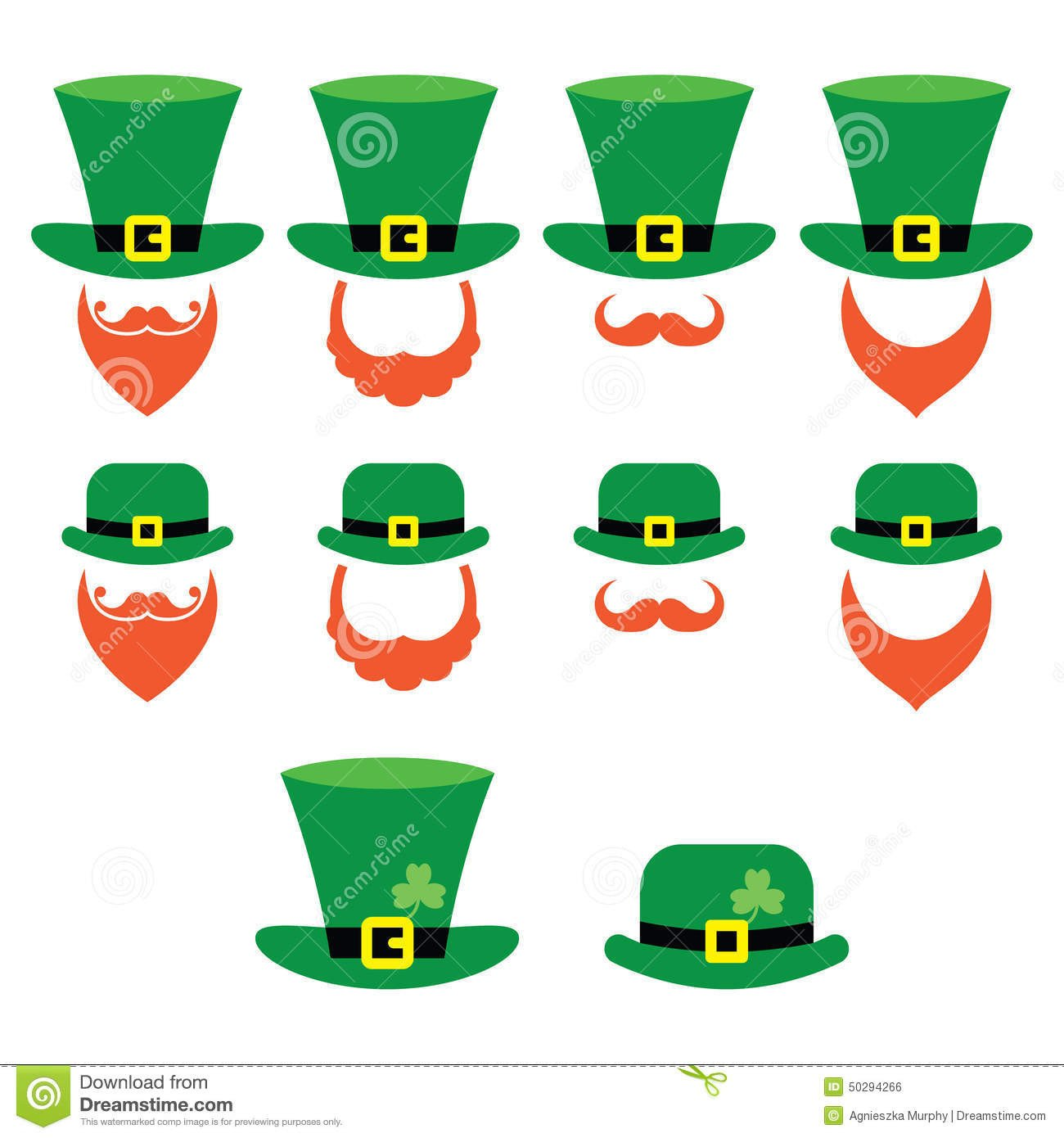 Leprechaun Hat and Beard Template Leprechaun Character for St Patrick S Day In Ireland Stock