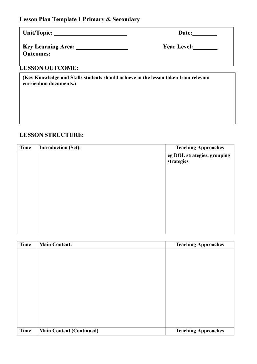Lesson Plan Templates Free 44 Free Lesson Plan Templates [ Mon Core Preschool Weekly]