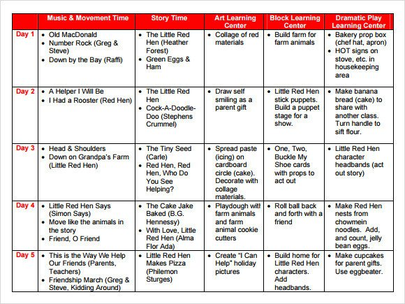 Sample Preschool Lesson Plan 10 PDF Word Formats