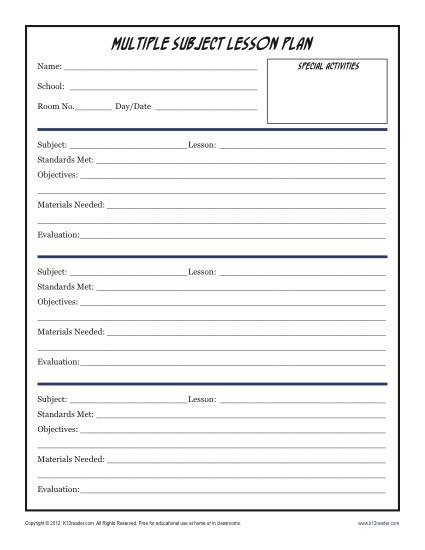 Lesson Plans Template Elementary Daily Multi Subject Lesson Plan Template Elementary