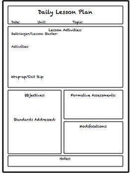 Lesson Plans Template Elementary Lesson & Unit Plan Templates for Middle or High School