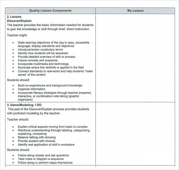 Lesson Plans Template Elementary Sample Teacher Lesson Plan Template 9 Free Documents In