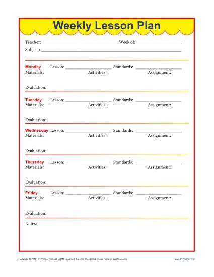 Lesson Plans Template Elementary Weekly Detailed Lesson Plan Template Elementary