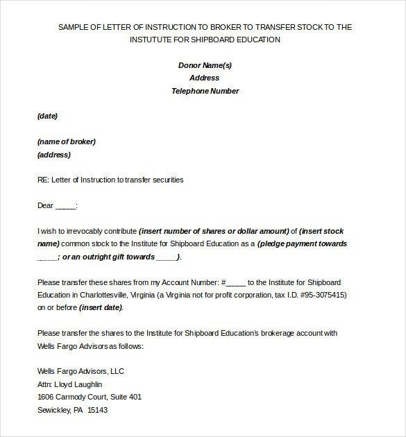 Letter Of Instruction Samples 6 Instruction Templates Doc Pdf Excel