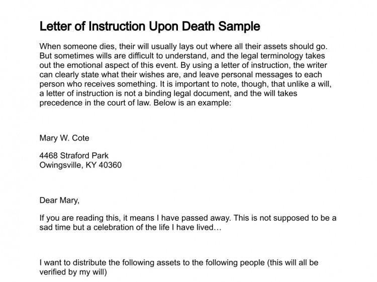 Letter Of Instruction Samples Letter Of Instruction