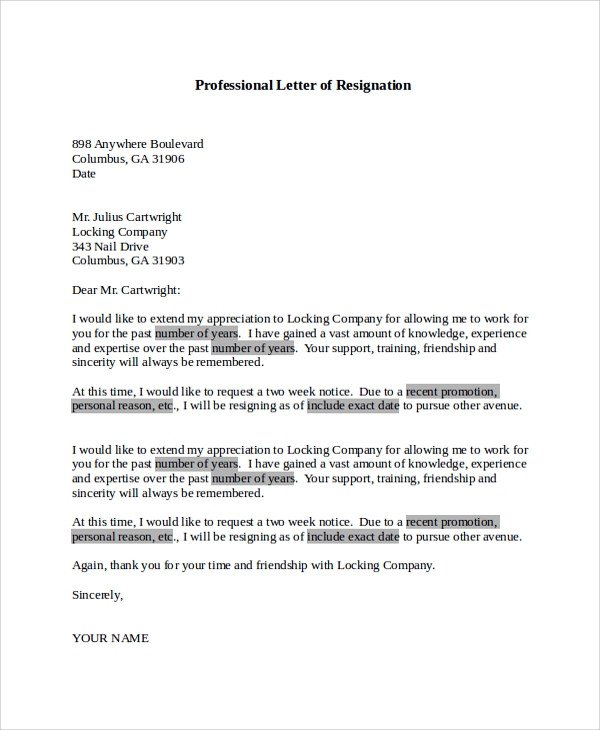 Letter Of Resignation Template Word 17 Letter Of Resignation Samples Pdf Word Apple Pages