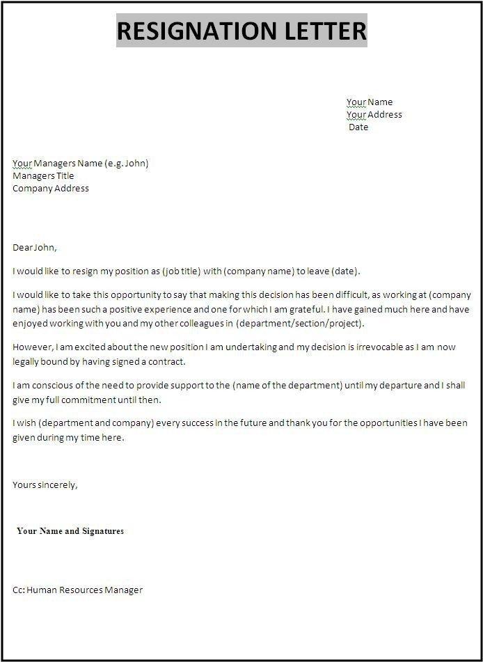 Letter Of Resignation Templates 10 Resignation Letter Samples