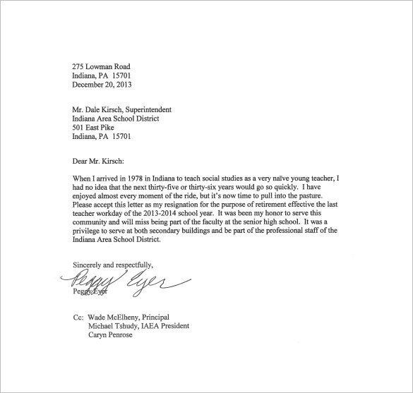 Letter Of Resignation Templates 21 Example Of Resignation Letter Templates Free Sample