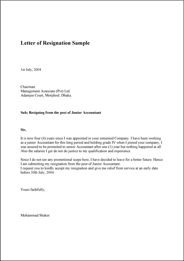 Letter Of Resignation Templates Letter Of Resignation Sample Template Example and format