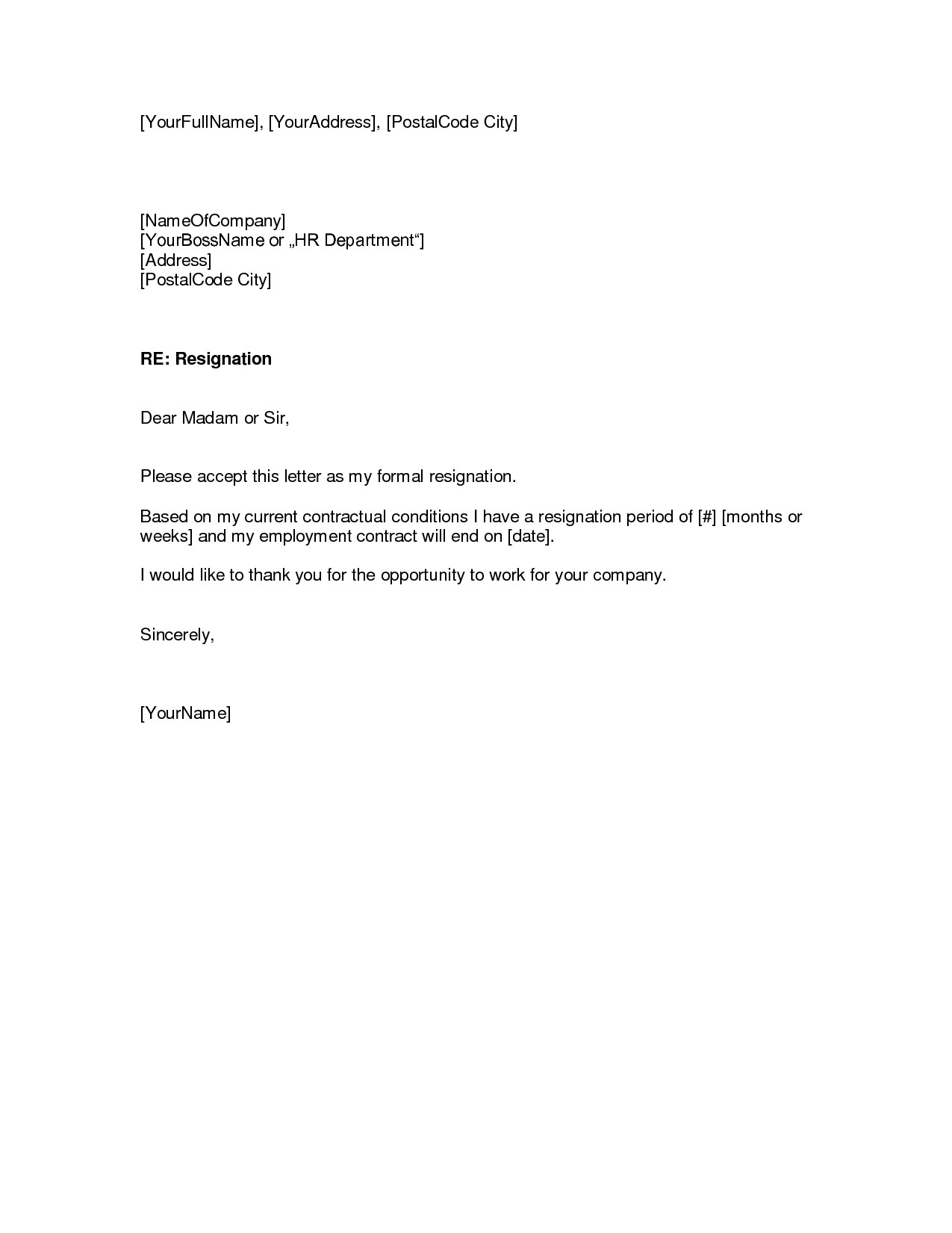 Letter Of Resignation Templates Resignation Letter Samples Download Pdf Doc format