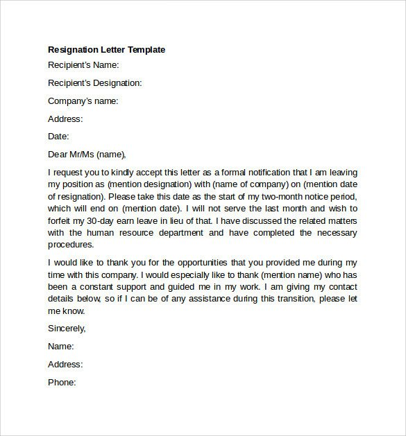 Letter Of Resignation Templates Sample Resignation Letter Example 10 Free Documents