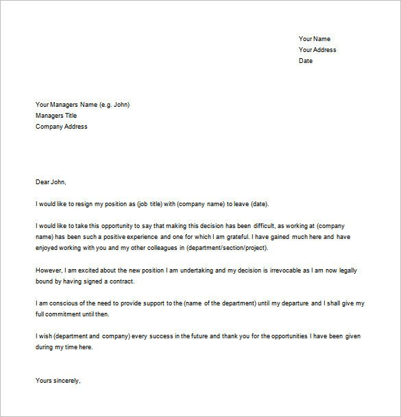 Simple Resignation Letter Template – 15 Free Word Excel