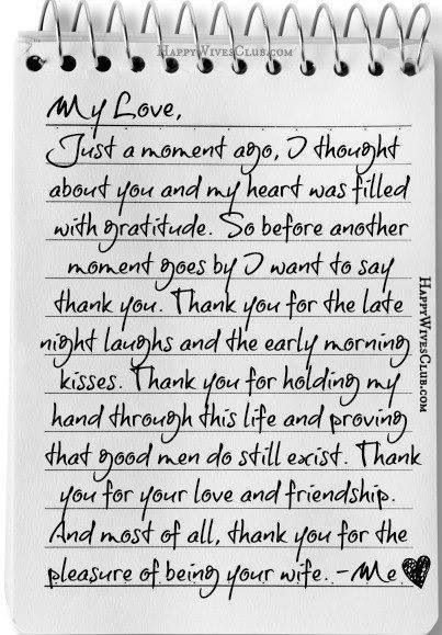 Letter to My Husband Thank You for the Pleasure Of Being Your Wife