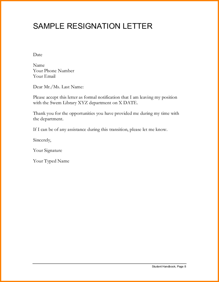 Letters Of Resignation Template 11 Sample Resignation Letter Cashier Resume