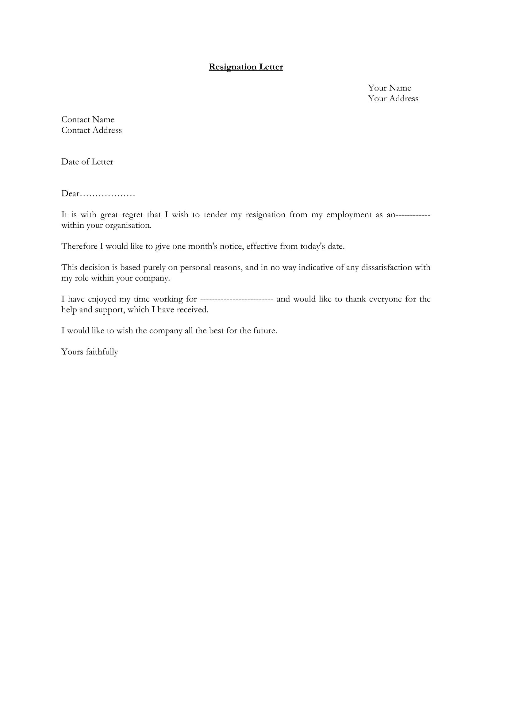 Letters Of Resignation Template 12 Employee Resignation Letter Examples Pdf Word