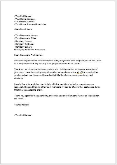 Letters Of Resignation Template Download Seek S Free Standard Resignation Letter Template