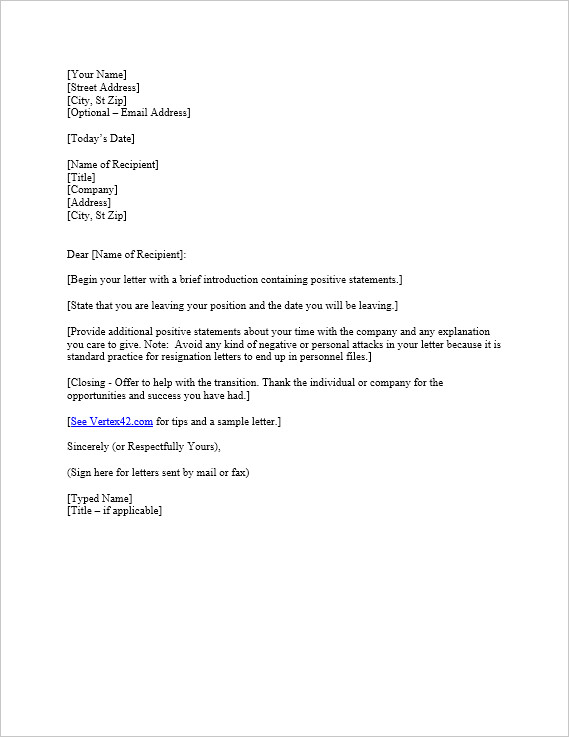 Letters Of Resignation Template Free Letter Of Resignation Template