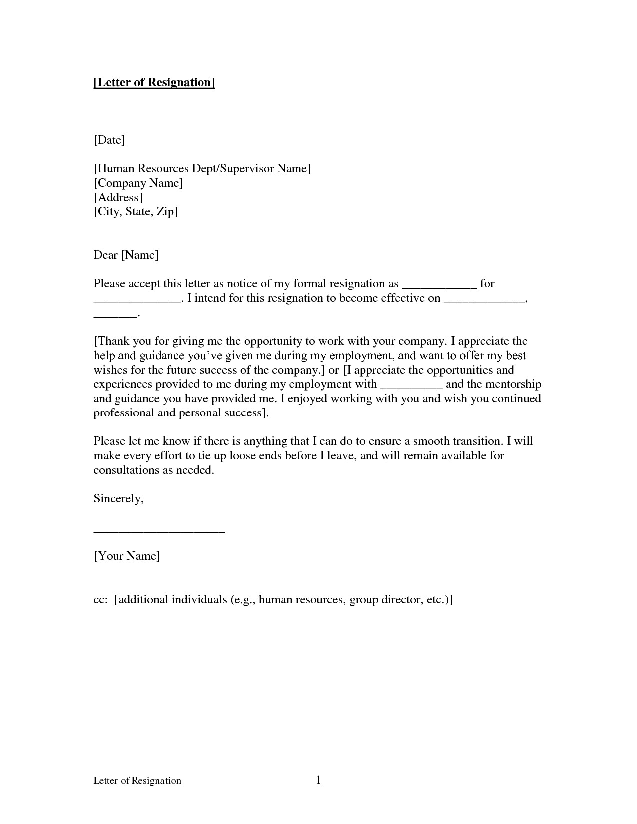 Letters Of Resignation Template Free Printable Letter Of Resignation form Generic