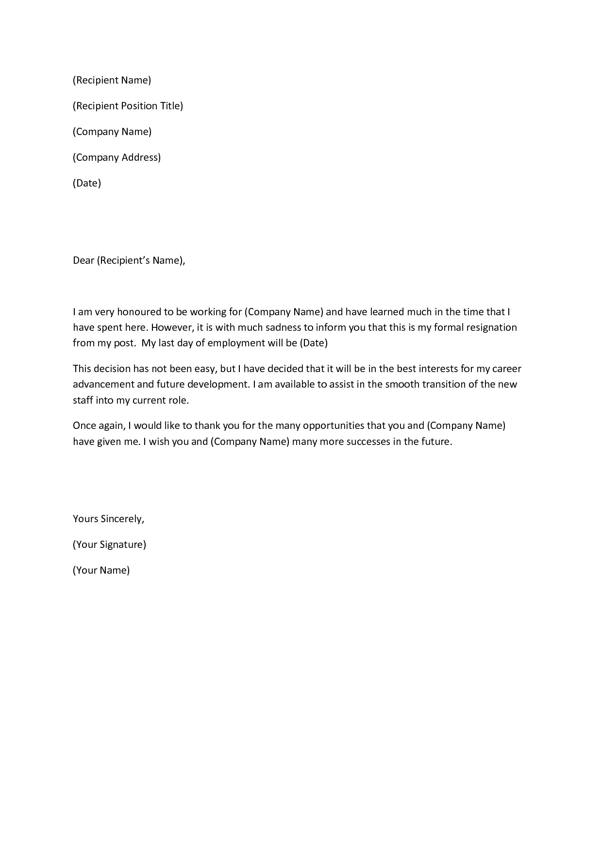 Letters Of Resignation Template Writing A Heartfelt Resignation Letters In Pdf