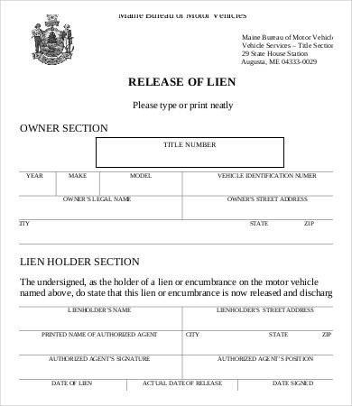 Lien Release Letter Template Lien Release form 8 Free Word Pdf Documents Download
