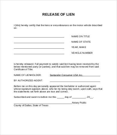 Lien Release Form 8 Free Word PDF Documents Download