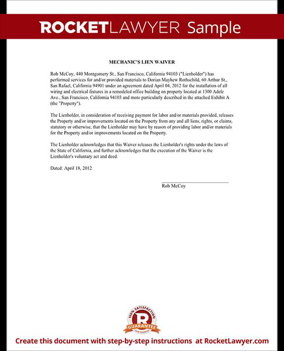 Lien Release Letter Template Mechanics Lien Release Lien Waiver form
