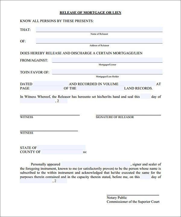 Lien Release Letter Template Mortgage Lien Release form Sample forms