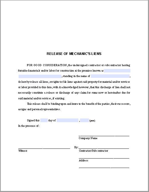 Lien Release Letter Template Release Of Mechanic's Liens Certificate Template Free
