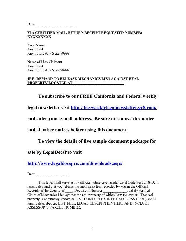 Lien Release Letter Template Sample California Mechanics Lien Release Demand Letter