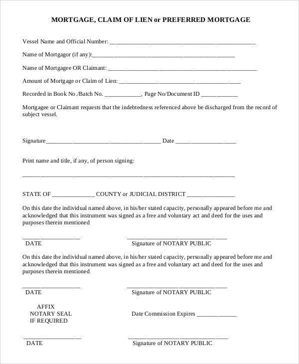 Lien Release Letter Template Sample Lien Release form 9 Examples In Pdf Word
