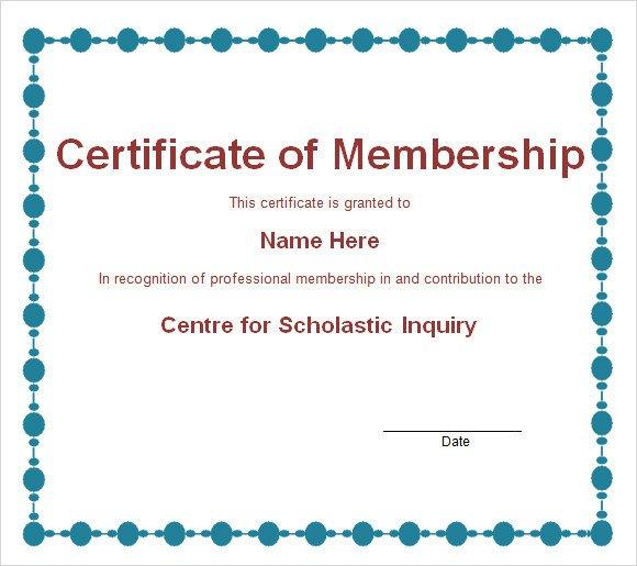 Membership Certificate Template 15 Free Sample Example