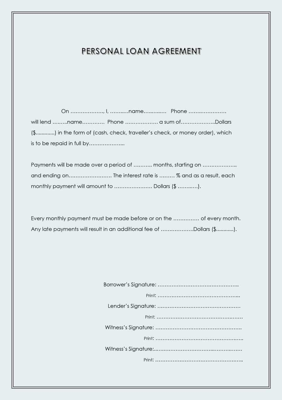 Loan Contract Template Word 40 Free Loan Agreement Templates [word & Pdf] Template Lab