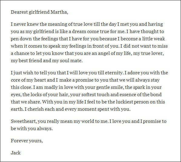10 Love Letters for Girlfriend Word