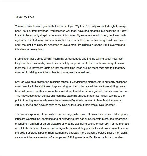 11 Love Letter Templates to My Husband DOC
