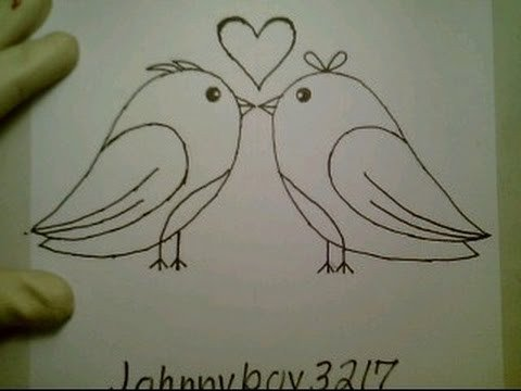 How To Draw Love Birds For Valentine Day Heart