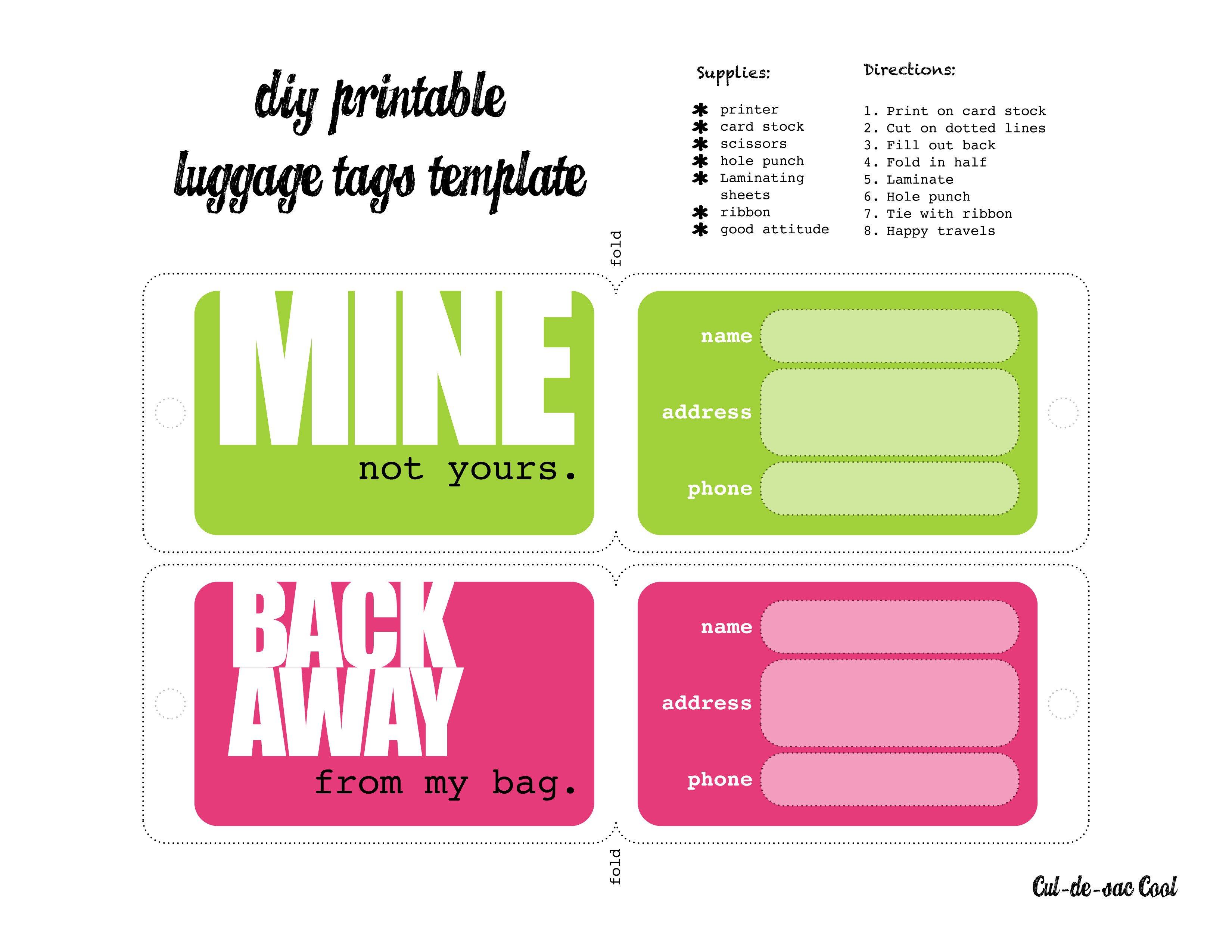 Luggage Tag Template Word Diy Printable Luggage Tags