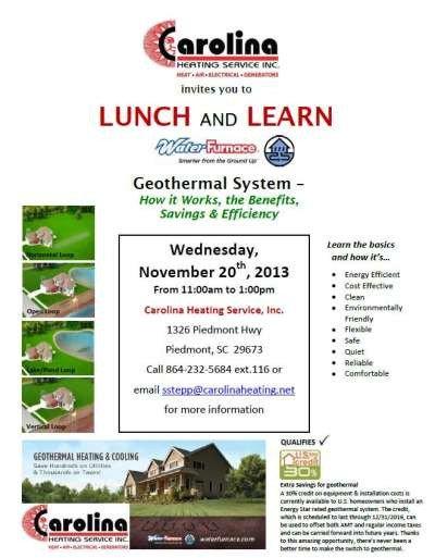 Lunch and Learn Invitations News – Invitation to Lunch and Learn 11 2013 – Geothermal