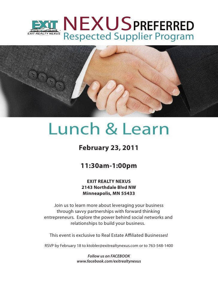Lunch and Learn Invitations Nexus Preferred Feb 23rd Lunch and Learn Invite