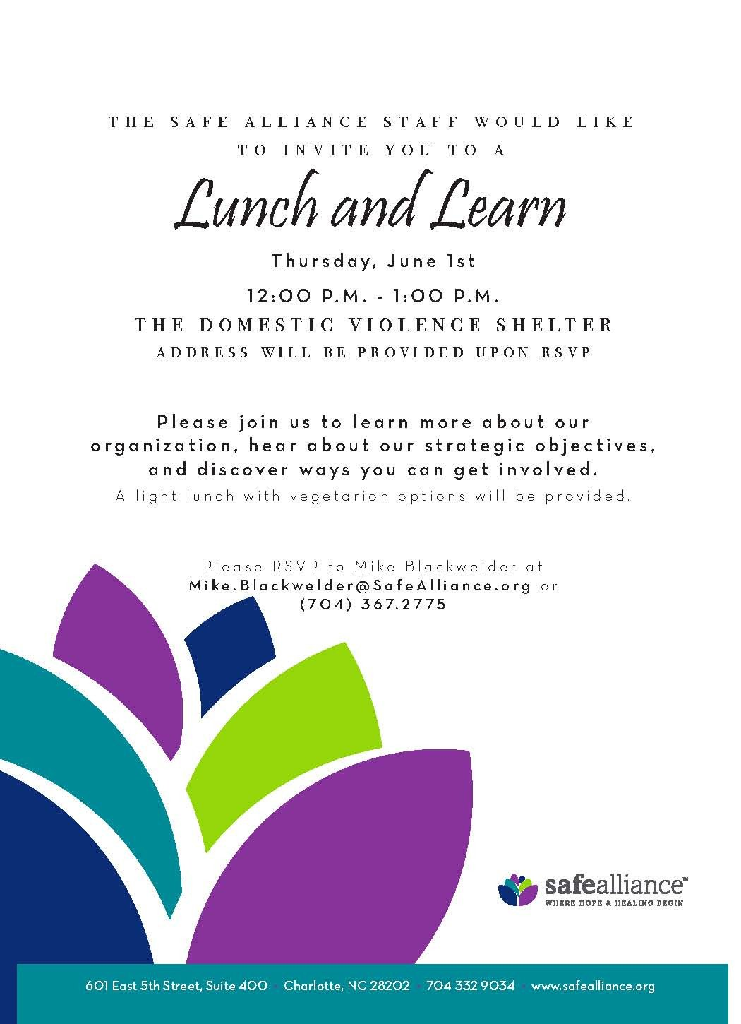 Lunch and Learn Invitations Safe Alliance Newsletter