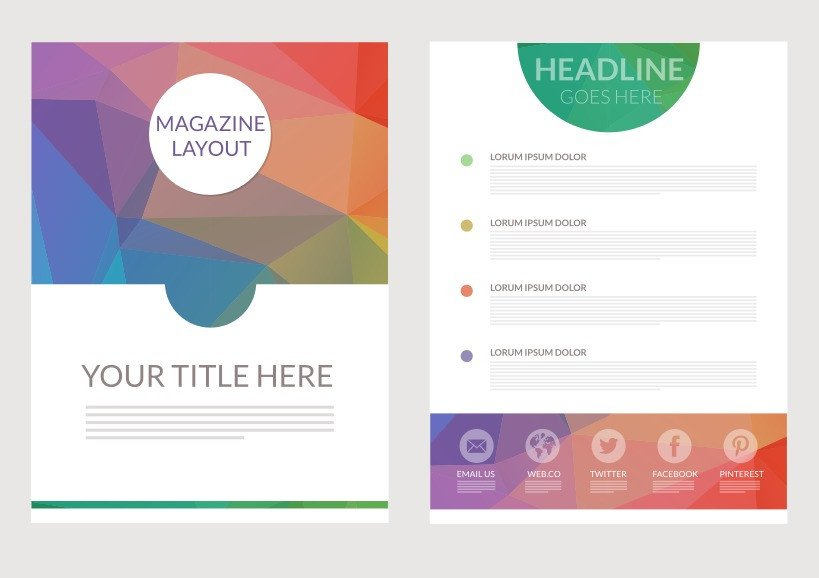 Magazine Layout Templates Free Download Abstract Triangular Magazine Layout Vector Download Free