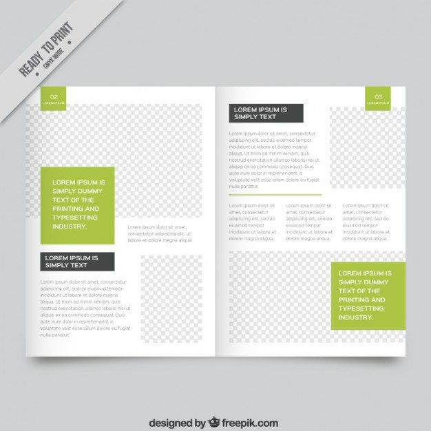Magazine Template for Microsoft Word White Magazine Template with Green Parts Vector