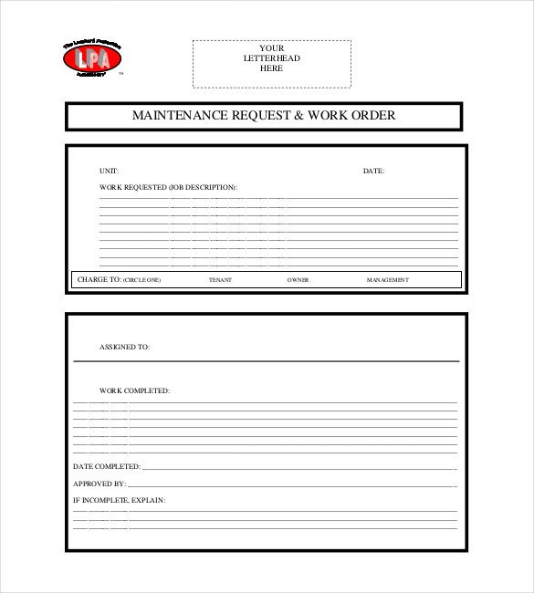 Maintenance Request form Template 20 order Template Word Excel Pdf