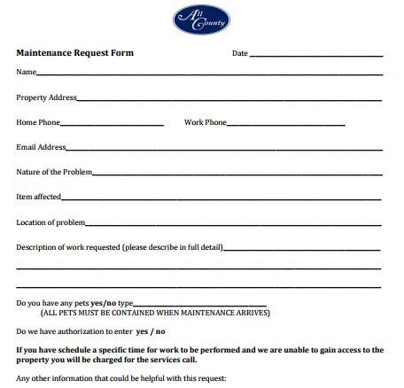 Maintenance Request form Template 5 Maintenance Request form Templates formats Examples