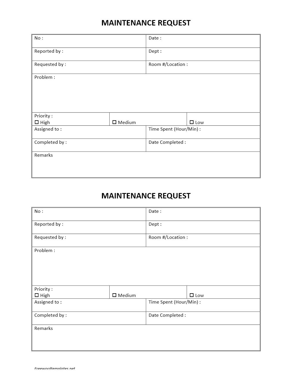 Hotel Maintenance Request Form
